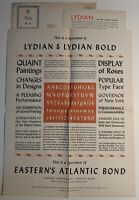 VTG LYDIAN SPECIMEN SHEET FROM EASTERN CORPORATION TO DELAWARE PRESS ALBANY NY