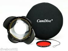 CamDive Wide Angle Wet Correctional Dome Port Lens for Underwater Housings (M67)