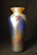 Gold Luster Vase With Blue wave Design by Saul Alcaraz.  Blown Glass