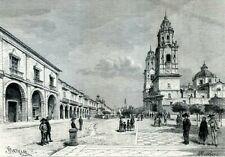 Mexico, Morelia......Antique  Engraving  1891
