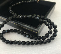 Vintage Necklace French Jet Faceted Black Glass Beads Victorian Gothic Collar