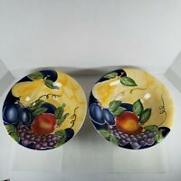 2 TableTops Unlimited Frutto Rimmed Soup Cereal Bowls