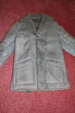 Genuine Sheepskin Coat Mens Single Breasted in Gray Size 42 Excellent Condition
