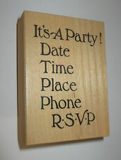 It's A Party Rubber Stamp PSX Date Time Place Hotel RSVP Wood Mounted Retired