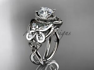 Butterfly Engagement Ring, 14kt White Gold Diamond Celtic Bridal Ring CT7136