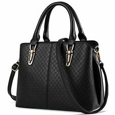 B&E Fashion Leather Purse Shoulder Handbag Satchel Tote Bag Women's BLACK