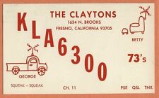 QSL Card CALIFORNIA CA Fresno KLA6300 pickup truck chair antenna drawings