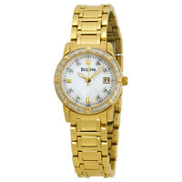 Bulova Women's 98R165 Quartz Yellow Gold Tone Diamond Accent Bracelet Watch