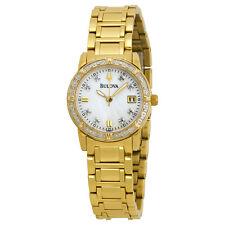 Bulova Women's Quartz Diamond Accent Date Calendar Gold-Tone 26mm Watch 98R165