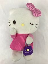 "Hello Kitty 12"" Stuffed Plush Winking Doll Pink Dress Bow Purple Felt Purse"
