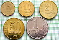 TAJIKISTAN 2011 5 COINS SET, UNC