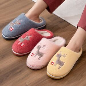 Women Fluffy Slippers Soft Plush Cotton Slides Animal Elk Deer Winter Slippers