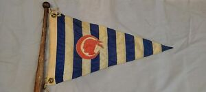 Early Indian Trademark Red White & Blue BURGEE Boat Pennant Flag Yacht Club
