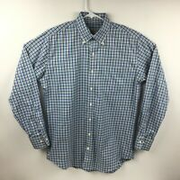Peter Millar Nanoluxe Easy Care Mens Button Front Blue Shirt Check Plaid Medium