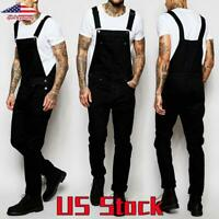 US Men's Bib Pants Black Cargo Denim Trousers Suspenders Overalls Straight Jeans