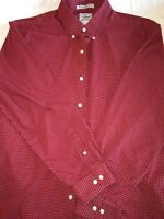 L.L. Bean Mens Red And White Button Down Long Sleeve Dress Shirt. Item#285275