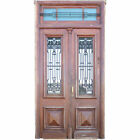 Antique Fine Argentine Oak & Wrought Iron Double Door, Frame and Transom c. 1900