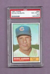 1961 TOPPS RICHIE ASHBURN GRADED BASEBALL CARD #88 - PSA 8.5 NM-MT+ - CUBS
