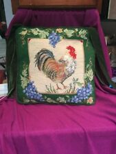Needlepoint Rooster Country Green Velvet Seat Cushion Pillow BEAUTIFUL