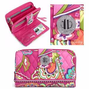 Vera Bradley NWT Turnlock Wallet Pink Swirls Zip Around Organizer FREE SHIPPING
