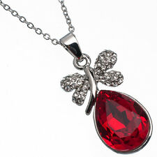 11.26 Ct Pear Cut Style Shape Red Garnet / Ruby CZ 18K White Gold Plated Pendant