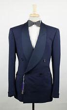 New. RALPH LAUREN PURPLE LABEL Blue Wool DB Tuxedo Sport Coat Size 52/42 L $1795