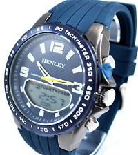 Henley Gents Analogue Digital Chronograph EL Sports Watch Blue Silicone Strap