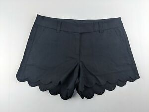 NEW J Crew Women 6 Solid Scalloped Linen Blend Shorts Black Casual Outdoor R