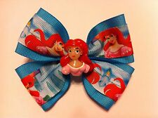 "Girls Hair Bow 4"" Wide Ariel Little Mermaid Aqua Blue Grosgrain French Barrette2"