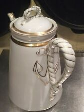 Haviland Limoges France Nautical Sailor's Knot Anchor/Rope Coffee Pot Teapot