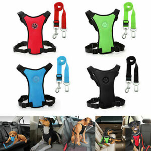 Dog Car Safety Harness Adjustable Mesh Vest Harness Travel Strap Car Seat Belt