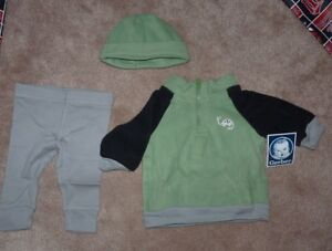 NEW GERBER Baby Infant 3 piece pants fleece sweatshirt hat cap winter 3-6 months