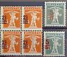 SCHWEIZ - SWITZERLAND 1921: Aufdruckmarken mit leicht verschobenem Aufdruck **