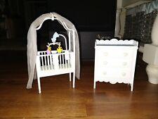 Vtg 1997 Barbie Nursery Furniture Crib Dresser