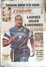 L'Equipe Journal 3/9/1997; Sampras éliminé/ Laissez jouer Karembeu/ Basket/ Rugb