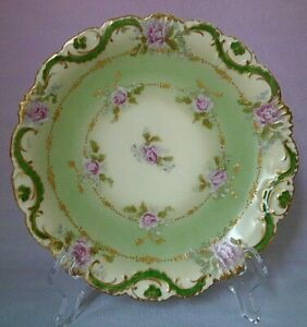 """Antique Coronet Limoges France Hand Painted Pink Roses 8.75"""" Scalloped Rim Plate"""
