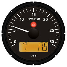 """VDO Viewline Onyx 3000 RPM 3-3/8"""" (85mm) Tach w/2 Hourmeters, V-meter - 12/24V"""