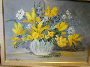 Noelle Hoffman Dutch Iris Oil Painting Yellow Howe Island Original