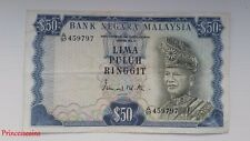 SCARCE*1967-72 SERIES MALAYSIA RM 50 RINGGIT LIMA PULUH BANKNOTE EF A/97 45979