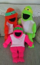 Set of 3 Neon Black light effective Turtle ventriloquist puppets-VBS Ministry-