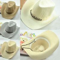 Men Sun Wide Straw Khaki Western Panama Cowboy Hat Riding Cap Gift