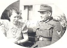 WWII German Army Large RPPC- Soldier- NCO- Frau- Wife- Belt Buckle- M43 Hat- 40s