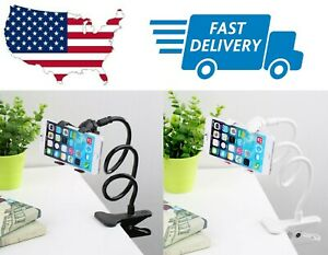 Universal Lazy Mobile Phone Gooseneck Stand Holder Flexible Bed Desk Table Clip