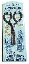 More details for vintage frank turton sheffield bathroom nail clippers hanger plaque + scissors