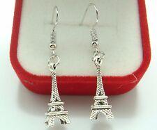 925 Silver Plated Hook - 1.8'' Vintage Eiffel Tower Women Cocktail Earrings j8ga