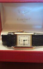 Vintage les must de Cartier Paris 925 Gold Plate Quartz Argen Working Tank Watch
