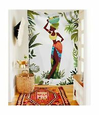 African Tribal Vibe Women beautiful girl leaf Tapestry Fabric Wallpaper Home ...