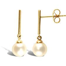 9 Carat Yellow Gold Akoya Fine Pearl Earrings