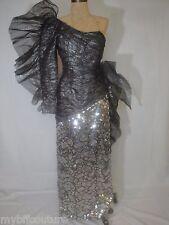 LORIS AZZARO Paris Haute Couture 1990's Full Length Sequin Dress Sz 2