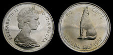 Canada 1967 Silver 50 Cents Howling Wolf BU From the Roll